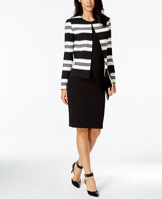 Tahari Asl Striped Jacket Skirt Suit Wear To Work