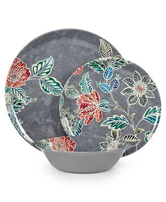 Home Design Studio Floral Melamine Dinnerware Collection