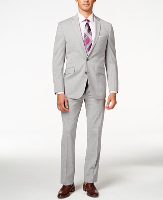 Kenneth Cole Reaction Men S Light Grey Sharkskin Slim Fit