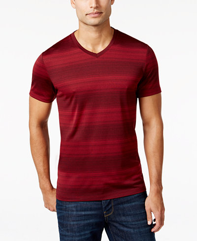 Alfani men 39 s big and tall v neck striped t shirt only at for Tall v neck t shirts