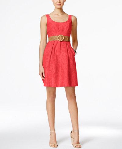 Nine West Belted Burnout Fit Amp Flare Dress Dresses