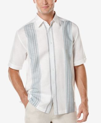 Cubavera Mens Linen Engineered Stripe Short-Sleeve Shirt