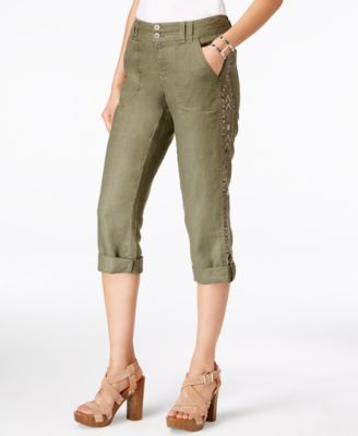 INC International Concepts Petite Linen Embellished Cargo Pants