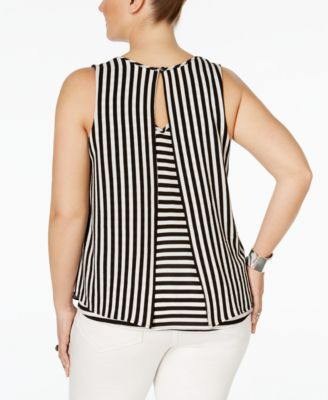 Monteau Trendy Plus Size Sleeveless Striped Blouse