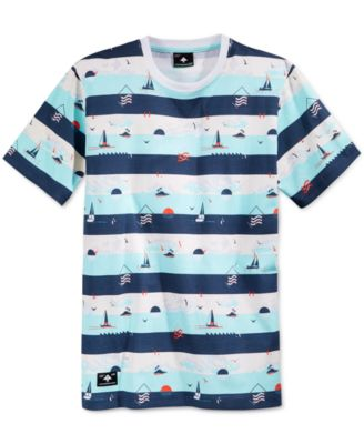 LRG Mens Grand Voyage Graphic-Print Stripe T-Shirt