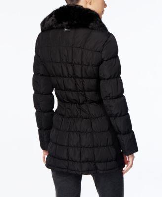 Calvin Klein Faux-Fur-Collar Puffer Coat