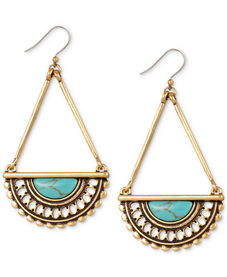 Lucky brand gold tone decorative drop earrings jewelry for Macy s lucky brand jewelry