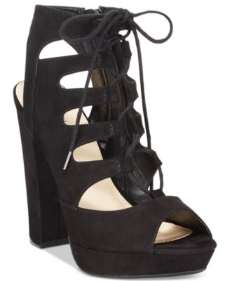 Bar III Nelly Lace-Up Block-Heel Platform Sandals