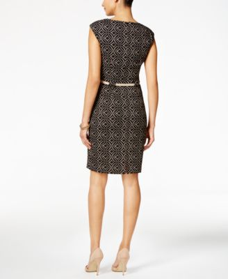 Connected Petite Printed Belted Sheath..
