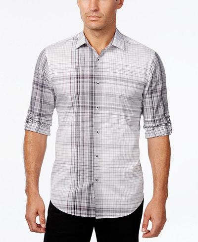Alfani men 39 s big and tall plaid long sleeve shirt slim for Slim fit tall shirts