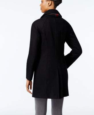 London Fog Petite Long Peacoat With Scarf
