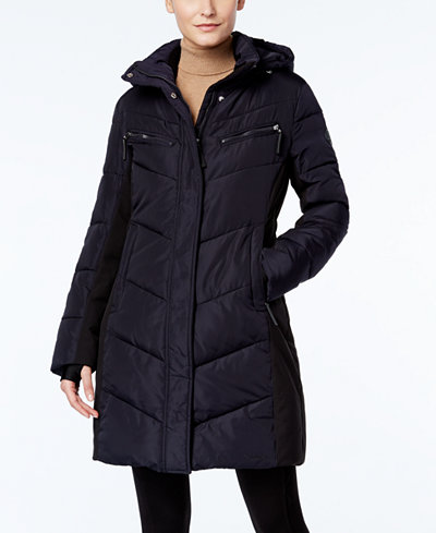 Calvin Klein Hooded Quilted Colorblock Water Resistant