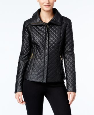 INC International Concepts Faux-Fur-Trim Faux-Leather Quilted Jacket