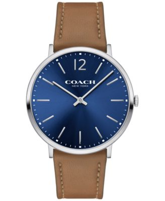 COACH Men's Slim Easton Camel Leather Strap Watch 40mm 14602110