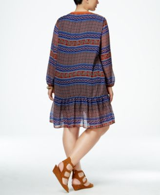 NY Collection Plus Size Multi-Print Peasant Dress
