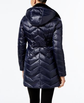 MICHAEL Michael Kors Faux-Fur-Collar Chevron Down Coat