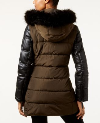 Calvin Klein Faux-Fur-Trim Mixed-Media Water Resistant Puffer Coat