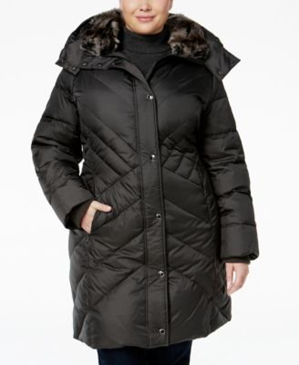 London Fog Plus Size Faux-Fur-Trim Qui..