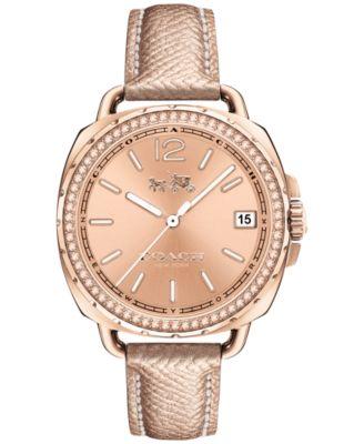 COACH Women's Tatum Pink Leather Strap Watch 34mm 14502629