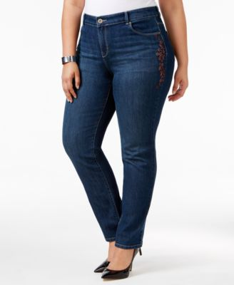 Style & Co. Plus Size Embroidered Marseilles Wash Slim-Leg Jeans, Only at Macy's