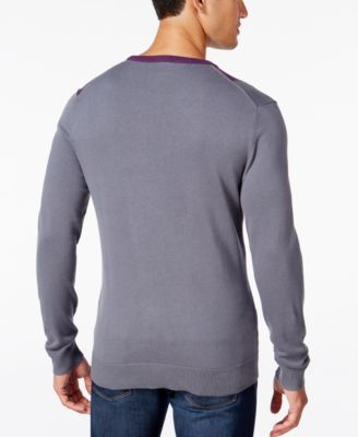 Alfani Mens Lightweight Colorblocked Knit Sweater Regular Fit