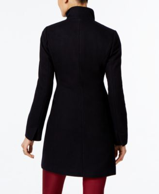 T Tahari Wool-Blend Ruffled Walker Coat