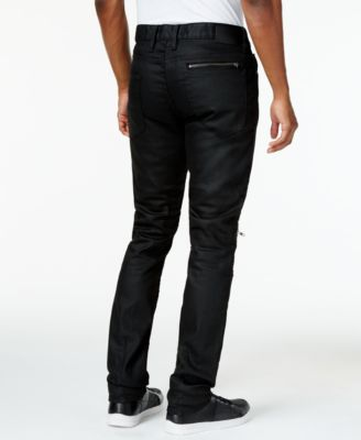 GUESS Mens Black Winslow Moto Jeans