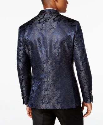 Tallia Mens Slim-Fit Navy Paisley Even..