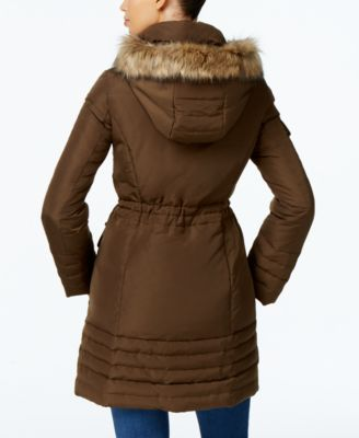 Kenneth Cole Faux-Fur-Trim Cinched Down Coat