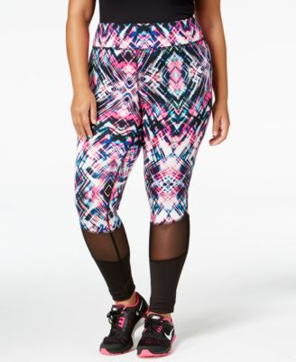 Material Girl Active Plus Size Mesh-Trim Printed Leggings, Only at Macy's