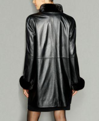 The Fur Vault Mink-Fur-Trim & Rabbit-Fur-Lined Leather Coat