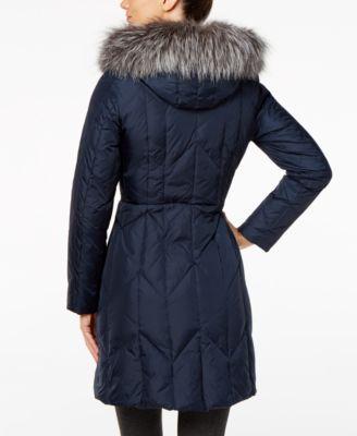 1 Madison Expedition Fox-Fur-Trim Chevron Hooded Down Puffer Coat