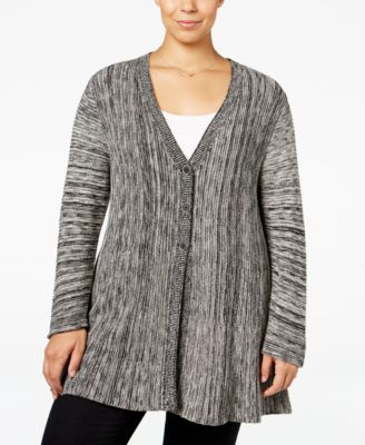 Style & Co. Plus Size Space-Dyed Flared Cardigan, Only at Macy's