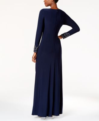 Vince Camuto Beaded Draped Gown