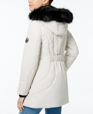 Wildflower Faux-Fur-Trim Hooded Puffer Coat