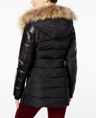 RUDSAK Roya Asiatic Raccoon-Fur-Trim Asymmetrical Down Coat