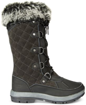 BEARPAW Womens Gwyneth Quilted Lace-Up Cold-Weather Boots