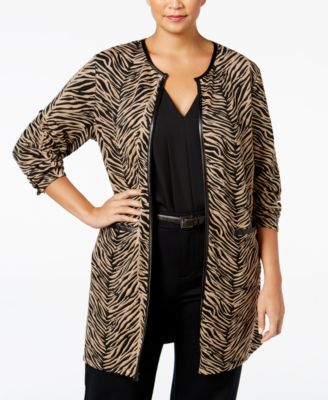 JM Collection Plus Size Printed Duster Cardigan, Only at Macy's