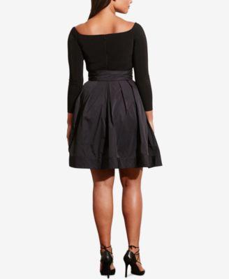 Lauren Ralph Lauren Plus Size Jersey-Taffeta Dress