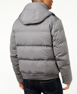 Andrew Marc Mens Summit Embossed Down Bomber Jacket