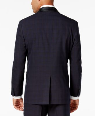 Sean John Mens Classic-Fit Blue Plaid Tuxedo Jacket