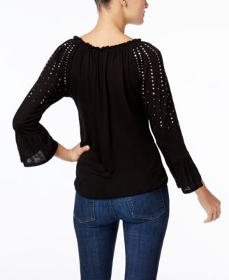 INC International Concepts Studded Peasant Top