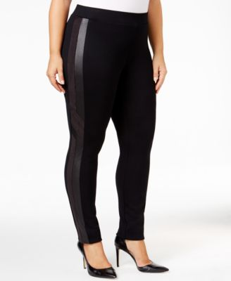 Style & Co. Plus Size Faux-Leather-Inset Leggings, Only at Macy's