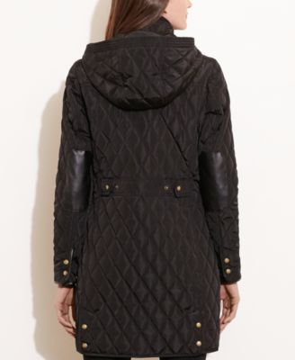 Lauren Ralph Lauren Faux-Leather Trim Hooded Quilted Coat