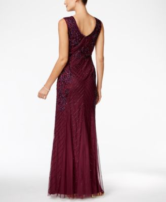Adrianna Papell Beaded Keyhole Gown