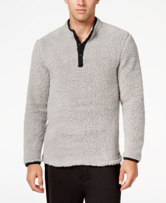Kenneth Cole Reaction Mens Fleece Henley Lounge Top
