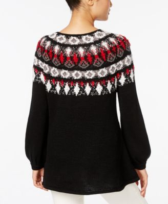 Style & Co. Bishop-Sleeve Patterned Sweater