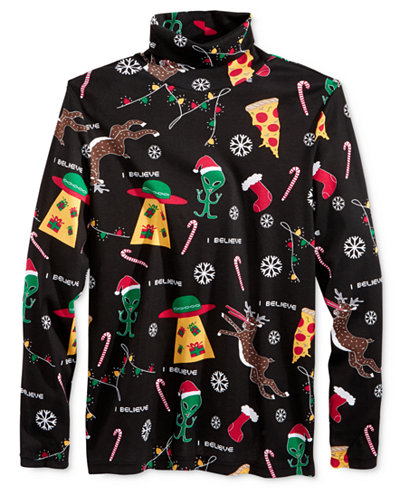 Men's Christmas In Space Turtleneck Ugly Shirt For Nerds