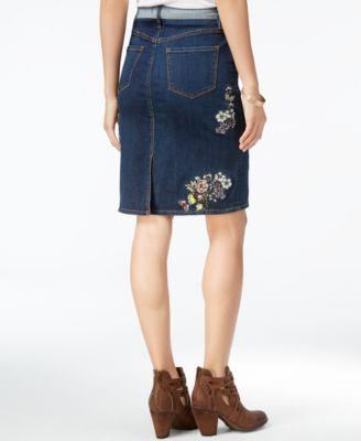 Buffalo David Bitton Embroidered Denim Skirt