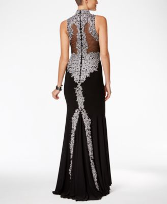 Betsy & Adam Embellished Mock-Neck Gown